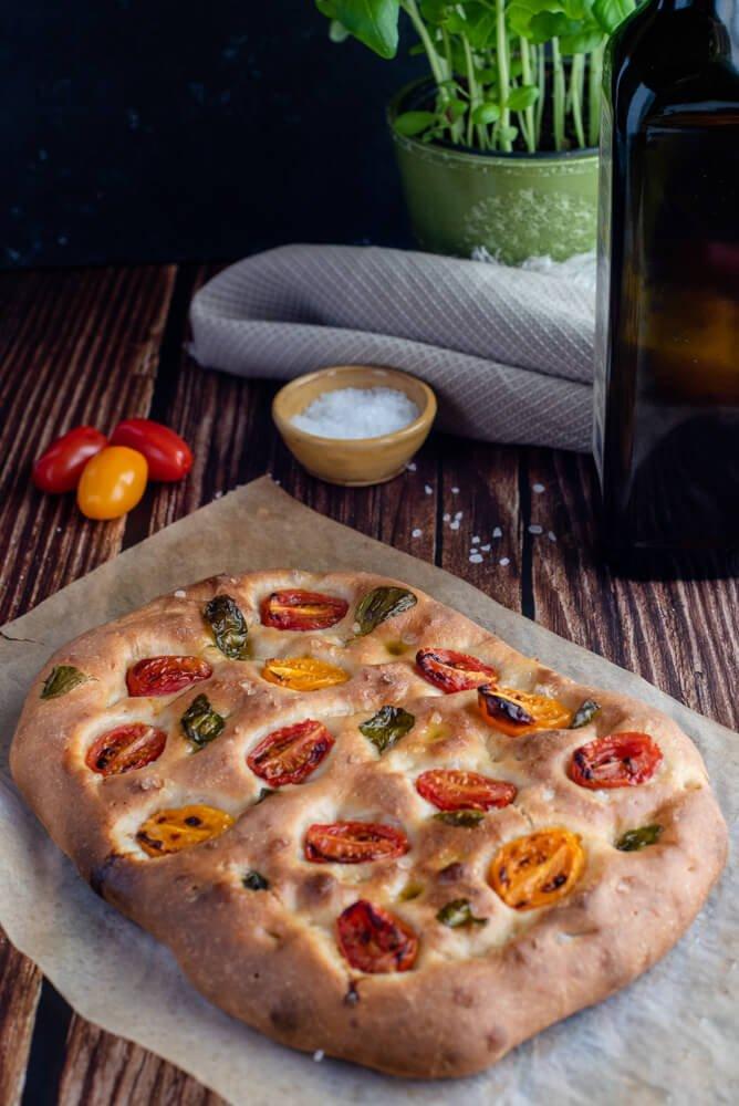 Cherry tomato and basil focaccia recipe