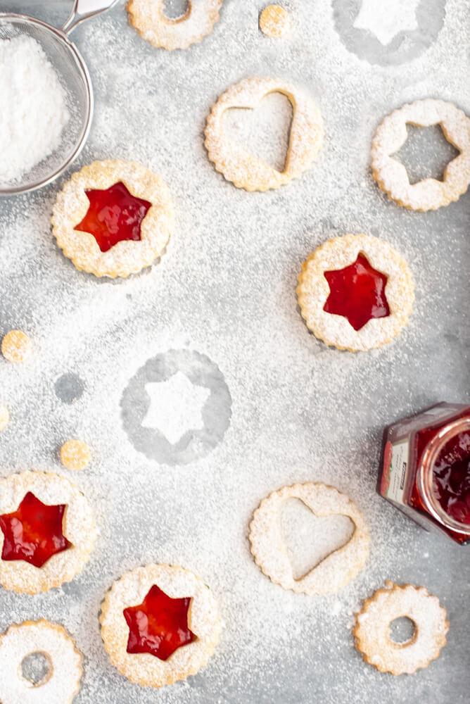 Strawberry Linzer Biscuits