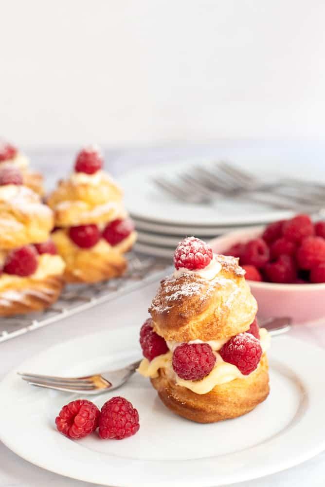 Raspberry Vanilla Custard Profiteroles